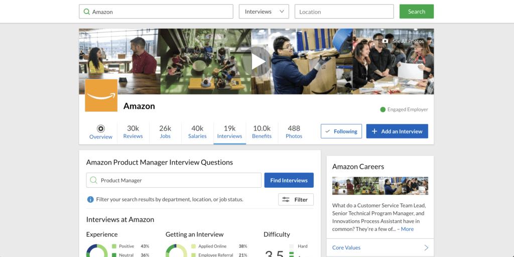 amazon profile page on glassdoor