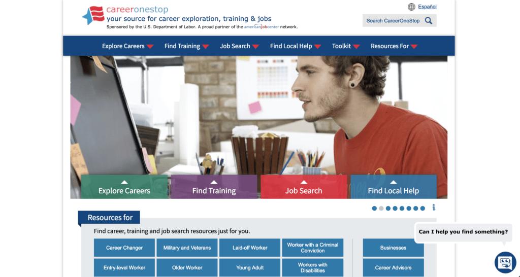 screenshot of career one stop homepage