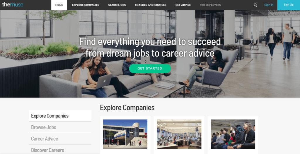 screenshot of themuse homepage